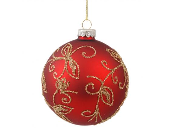 Julekule rød /glitter