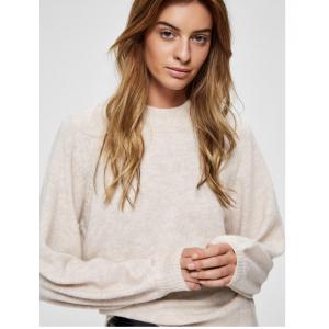 Anna ls knit o-neck - sandshell