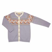 Memini Fox baby strikket Cardigan  Lavender Grey