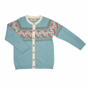 Memini Fox baby Cardigan  Surf Blue
