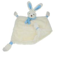 Sutteklut kanin med tørkle krem/blå
