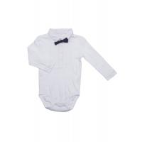 Baby gutt skjortebody med sløyfe Hvit