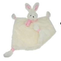 Sutteklut kanin med tørkle krem/rosa