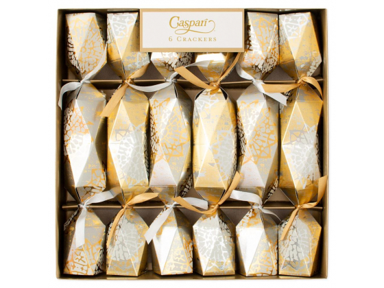 """Block Print Stars platinum/gold"" party crackers"