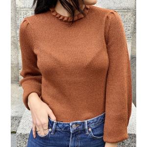 Zamba ls knit lurex frill neck