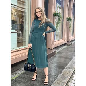 jessa ls lurex midi dress -grønn