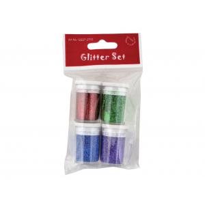 Glittersett 4 x 4g – Rød/grønn/blå/lilla