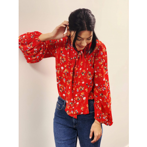 Bow Blouse- Red garden