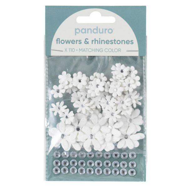 Blomster & Rh.stones 110p Hvit