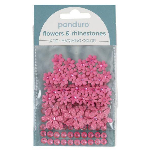 Blomster & Rh.stones 110p Rosa