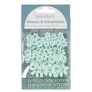 Blomster & Rh.stones 110p Blå