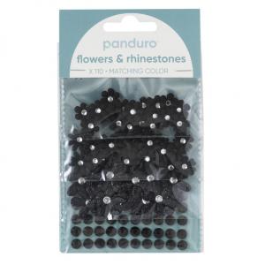 Blomster & Rh.stones 110p Sort