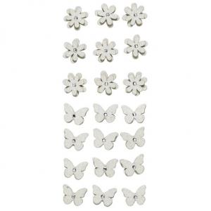3D stickers Blomst/s.fugl Sølv