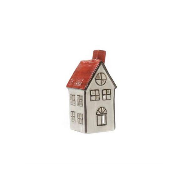 Hus For Lys Grå/Rød 14Cm