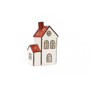 Hus Porselen Rød/Hvit Kirke18Cm
