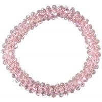 Sinna hårstrikk med glassperler rosa
