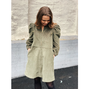 Corduroy mini dress - Moss green