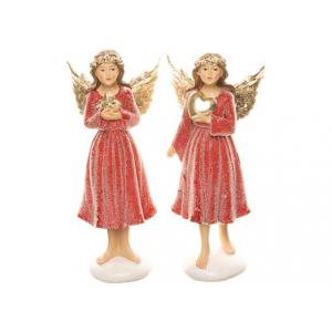 Engel rød m/gullvinger stående