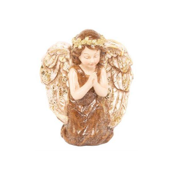 Engel knelende brunrød m/gull