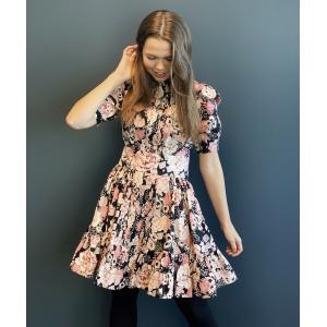 Structured Cotton Mini Dress - Midnight Roses