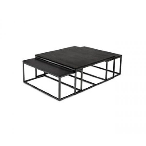 Salongbord Oceanside sett av 3 bord sort metall eike finer