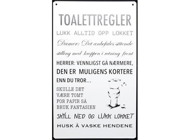 Metallskilt Toalettregler m/tekst hvit