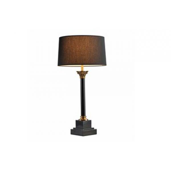 Bordlampe Clermont gull h80cm med 40cm rund sort skjerm