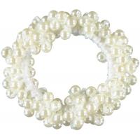 Solga hårstrikk med perler hvit