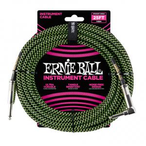 Instrumentkabel Ernie Ball 7,5m Vinkel Grønn/sort