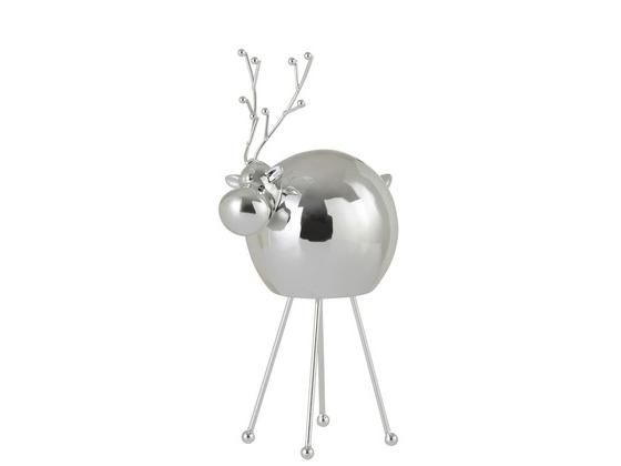 Reindeer Modern Porcelain Silver Large