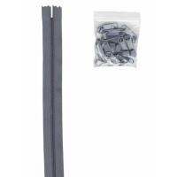 Glidelås grov 4,5 mm stålgrå/gunmetall