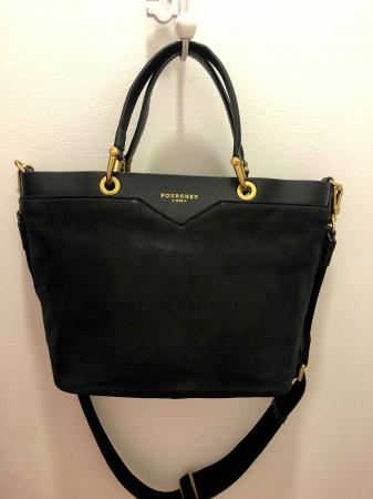 Nubuck leather small size shoppimg bag