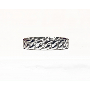 Curb Chain Ring Small - Rhodium
