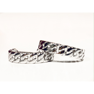 Curb Chain Medium Hoops - Rhodium