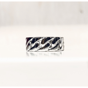 Curb Chain Ring - Rhodium