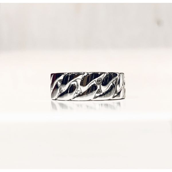 Curb Chain Ring - Rhodium