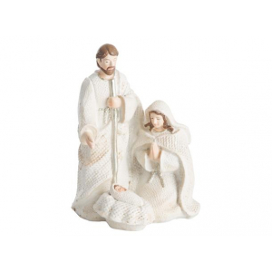 Krybbefigur Josef/Maria hvit/sølv h:12cm