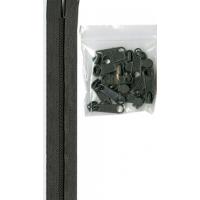 Glidelås grov 4,5 mm mørk grå