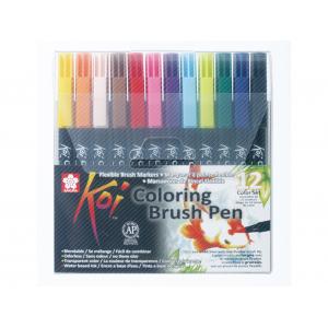Sakura KOI Coloring Brush Pen – Sett 12 farger
