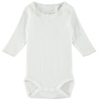 Debora langermet body med blonde baby Bright White