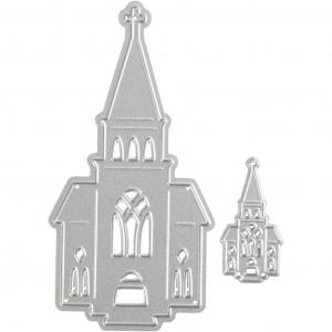 Skjæresjablong, str. 46x91+18x35 mm, , kirker