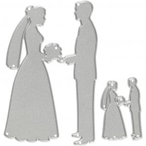 Skjæresjablong, str. 52x81+23x35 mm, , brudepar