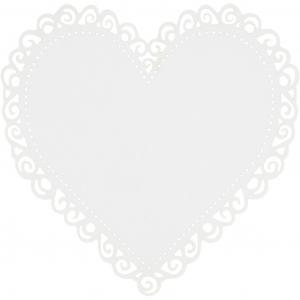 Hjerte, hvit, str. 85x85 mm, 240 g, 10stk.