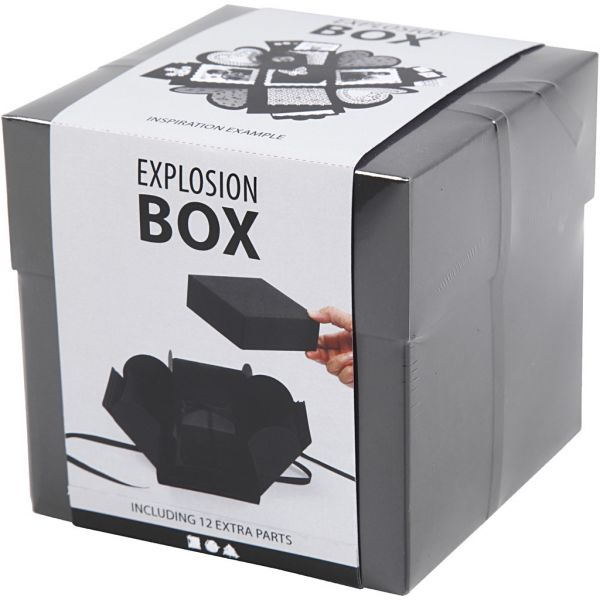 Eksplosjonskasse, str. 7x7x7,5+12x12x12 cm, svart