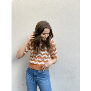 Mohair short sleeved jumper - rust stripe