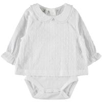 Dania langermet body med bluse baby Bright White