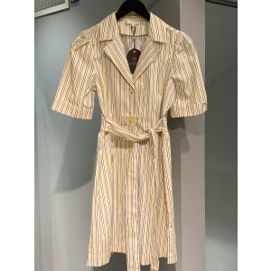 Poplin kitchen dress - Yellow stripe