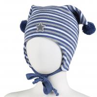 Kivat lue med 2 dusker Stripete Blå/Hvit/Grå