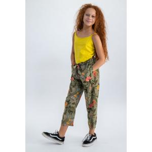 Garcia Widepant Teens Girls Green Flower