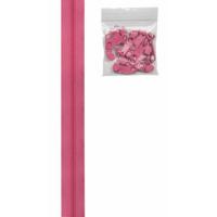 Glidelås grov 4,5 mm rosa